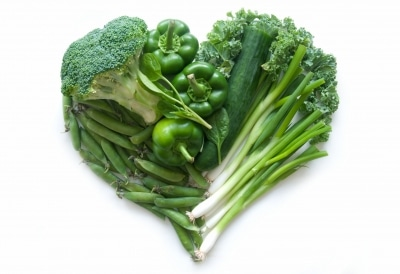 Green Vegetables in the shape of a heart